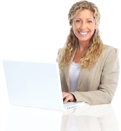 Woman smiling with laptop